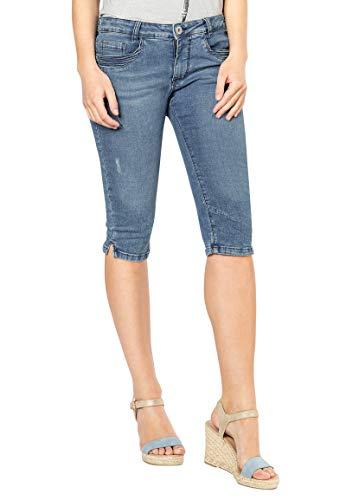 Sublevel Damen Capri Jeans-Hose mit Abnäher und 3/4 Länge Blue XL - Capri Cropped-jeans