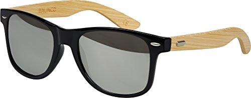 Hochwertige Bambus Holz Nerd Sonnenbrille Rubber im Wayfarer Stil Retro Vintage Unisex Brille mit Federscharnier - 9 verschiedene Farben/Modelle wählbar (Bambus - Silber verspiegelt)