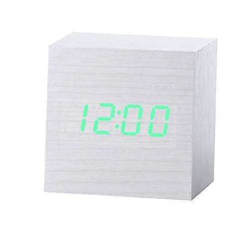 bqlove Holz Wecker, USB Digital Retro Wecker Cube Holz LED Desktop Tisch Home Decor Stimme Sound Control Wecker