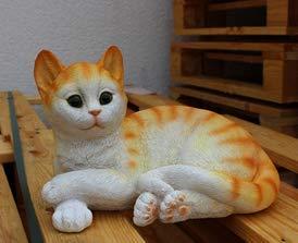 Solarleuchte liegendes Kätzchen rot/weiß 14906