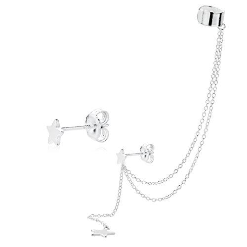Iyé Biyé Jewels - Pendientes Mujer Estrellas 5mm con Cadenas en Plat