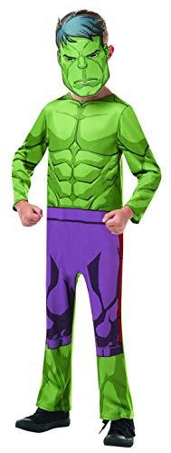 Fancy Ole - Jungen Boy Kinder Hulk Classic Kostüm aus Avengers Assemble mit Einteiler und Maske, perfekt für Karneval, Fasching und Fastnacht, 134-140, Grün
