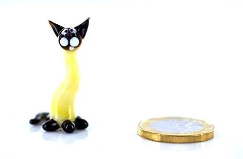 Gelbe Katze Mini - Miniatur Figur gelbes Kätzchen aus Glas - Gelb Schwarz - Kleine Glasfigur Glücksbringer Mini 8-k2 Glastier Deko Setzkasten