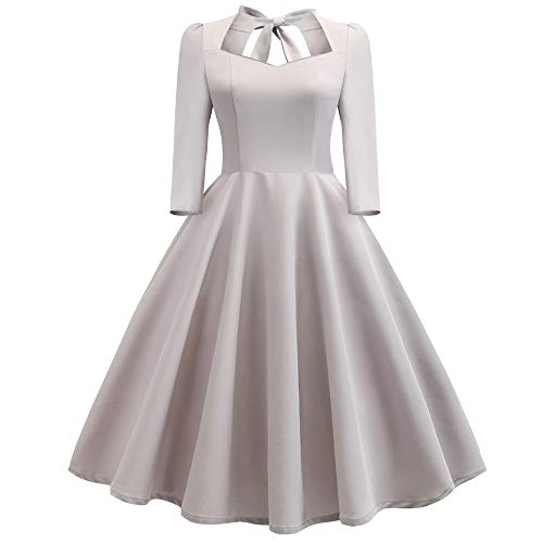 (OverDose Damen Winter Dating Stil Mode Frauen Solide V-Ausschnitt Zurück Aushöhlen Bogen Drapierte Urlaub Hochzeit Outing Schlank Vintage Kleid Rock)