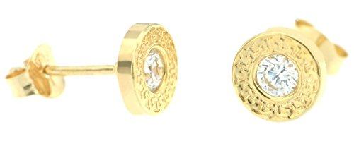 ERCE Design-Ohrstecker rund mit Zirkonia, 14 Karat Gold 585, Größe 7 mm, im Geschenketui