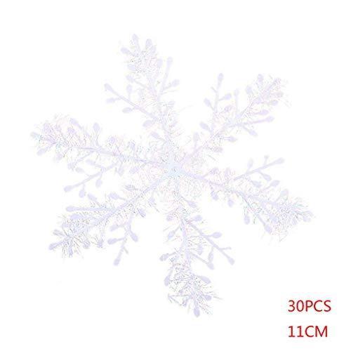 Mailfoulen10 Beutel Weihnachten weiße Schneeflocke-Hochzeit Urlaub Ornamente Home Garten Weihnachtsbaum Dekoration -