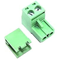 2Pin Stecker gerade, 5,08mm weiblich Schraube Paar Set grün PCB CNC