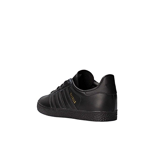 adidas Originals Gazelle C Black Leather Junior Trainers Nero (Negbas)