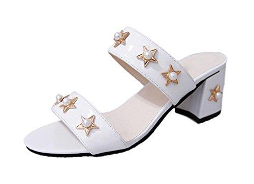Metallperle fünfzackigen Stern weibliche Sandalen grobes Wort mit weiblichen Sandalen und Pantoffel Sommer Sandalen und Pantoffeln White