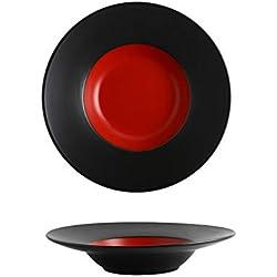 CZDXM Contraste Creativo Estilo nórdico vajilla hogar Plato de cerámica Paquete de Hotel Plato de Sombrero de Paja Plato Rojo Negro 10 Pulgadas