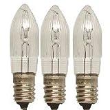 3 Stück Topkerze, Riffelkerze für Lichterkette 12V, 3W, Fassung E10