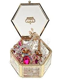 Alcoa Prime Necklace Earrings Display Glass Jewelry Box Organizer Storage Case Gold