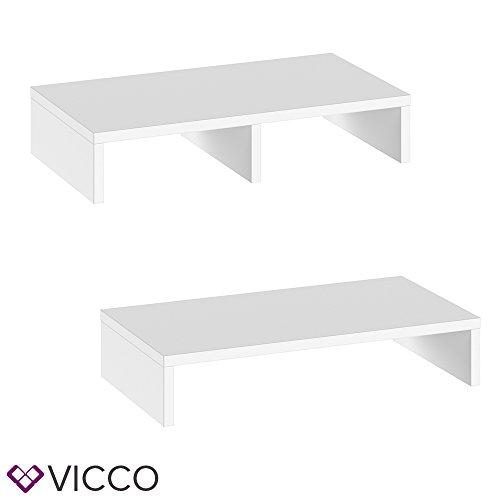 VICCO Monitorständer Weiß 50 cm - Schreibtischaufsatz Bildschirmständer für Laptop (Weiß, Einzeln) - 2