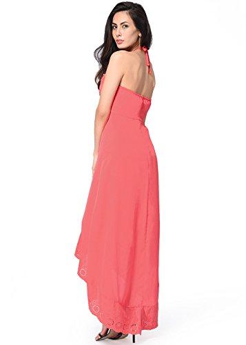 Vestito lungo senza maniche da donna in fasciatura Halter asimmetrica delle donne Anguria rossa