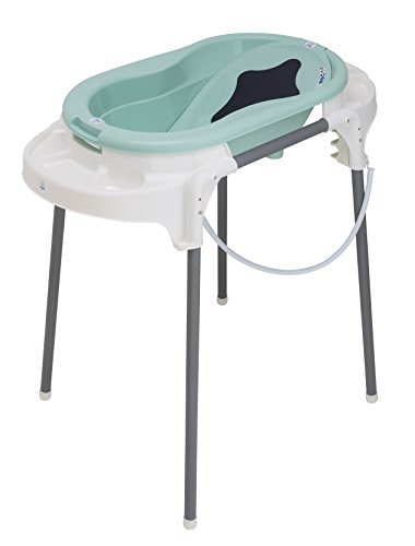 Rotho Babydesign Badeset mit Wanne und höhenverstellbarem Funktionsständer, 0-12 Monate, Swedish green (Mintgrün), TOP Badestation, 21042000101