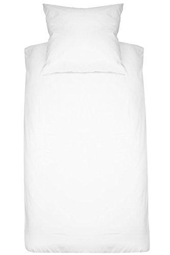 ZOLLNER Juego de Funda nórdica y Funda para cuadrante, de satén de algodón a Rayas, Blanca, Cama 80-90 cm