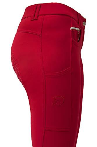 RidersDeal Collection Reithose mit Silikonvollbesatz und Handytasche für Damen, rot