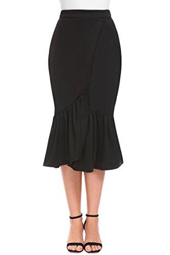 Fischschwanz-saum Rock (Shine Damen Hoher Taille Split Front Slim Fit asymmetrische Rüschen Saum Midirock schwarz XL)
