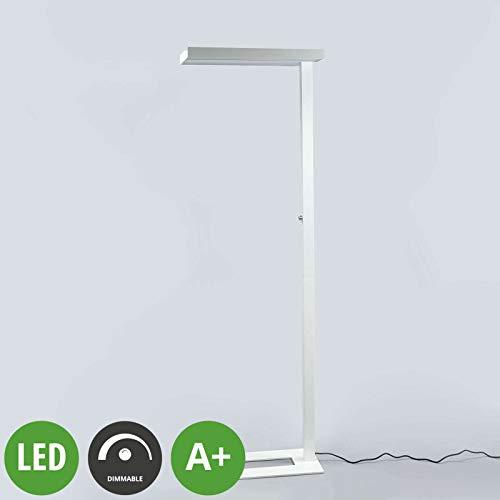 Lampenwelt Stehleuchte Logan - LED Büro Stehlampe weiß, dimmbar 4.000K - Deckenfluter