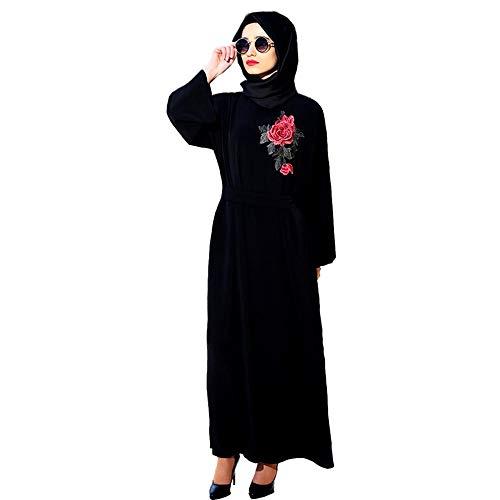 URIBAKY Muslimische Frauen Robe,Muslim Robe Muslim Kleiden Plus Size Nahen Osten Langes Kleid Islamische Reine Farbe Besticken