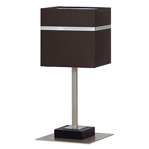 Edle Tischleuchte in Dunkel Braun Bauhausstil 1x E27 bis zu 60 Watt 230V aus gewebten Stoff & Metall Nachttischlampe Schlafzimmer Wohnzimmer Lampen Leuchte Beleuchtung