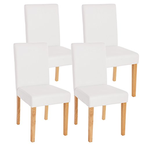 Lot de 4 chaises de séjour Littau, simili-cuir, blanc mat, pieds clairs