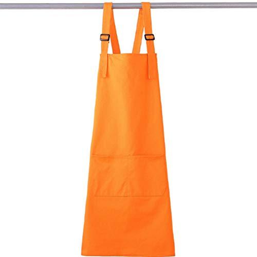 Einstellbare Latzschürze mit Taschen, einfarbige Latzschürze, Unisex-Schürze zum Kochen Backen Küche Restaurant Handwerk,Orange