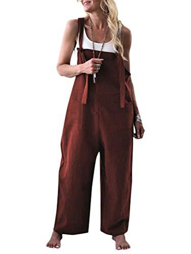 Onsoyours Damen Retro Latzhose Sommerhose Jumpsuits Playsuit Bib Hose Leinen Casual Loose Overall Lange Wide Leg Hosen A Kaffee DE 44 - Leinen Overalls Hosen
