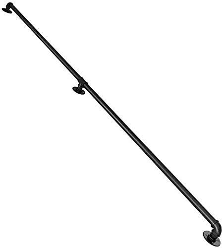 FXPCQC Rundes Schwarz Handlauf for Treppen Balkon Brüstung   Halterung Treppengeländer Außen Innen Handläufe Wandmontage   Wandhandlauf Geländer Bausatz Eingangsgeländer