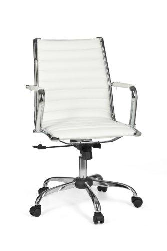 Amstyle design genf 2 - sedia direzionale da ufficio classica, colore: bianco