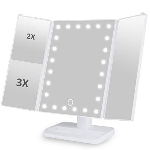 Makeup Spiegel Beleuchtung mit 24 LEDs 3 Fach Vergrößung USB Wiederaufladbar und Batteriebetrieben, Kosmetikspiegel Faltbar Dimmbar 180° Einstellbar, Ideal als Geschenk für Frauen