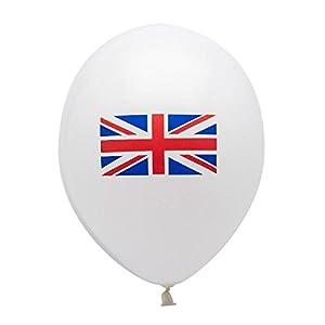 Gifts 4 All Occasions Limited SHATCHI-190 - Globos con bandera de Reino Unido (15 unidades, 30,5 cm), diseño de bandera de Reino Unido, color rojo, blanco y azul