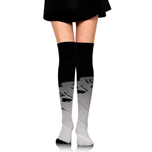 Gped Kniestrümpfe,Socken,Playing Poker Spades Flush Leisure Crew Top Socks,Tube Over Knee Nursing Compression Long Socks,3D Printed Sports For Girls&Women 50 CM -
