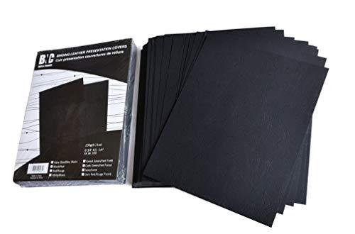 BNC Präsentationshüllen, Lederstruktur, 22 x 28 cm, Schwarz, 100 Stück -