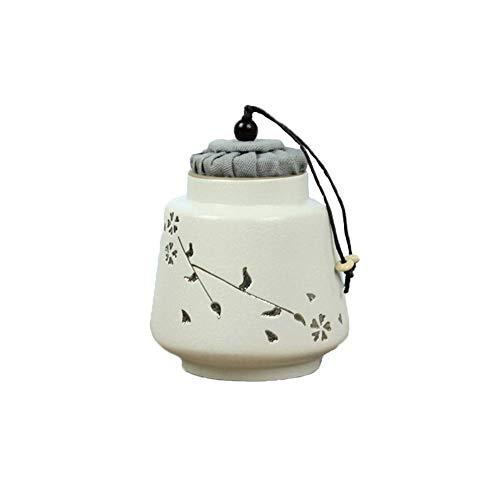 GONGFF Silber Kirschblüte Steinzeug Retro Mini Keramik Eine kleine Anzahl von Menschen oder Haustieren Aschedosen Korken Siegel Mini Trompete Souvenir (Farbe: Weiß)
