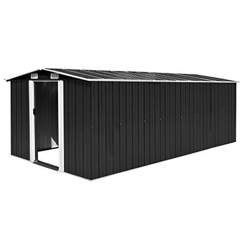 tidyard Caseta de Jardín Exterior con 4 Ventilación para Almacenamiento de Herramientas de A Prueba de Polvo y Resistente a la Intemperie de Acero Galvanizado 257x497x178 cm Marrón