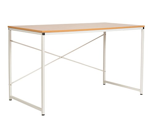 ts-ideen Escritorio de madera mesa de oficina para PC nesa de trabajo patas de metal blanco