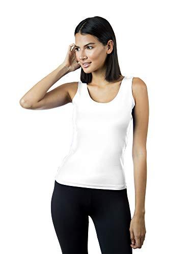 A'nue Miami Damen Tanktop mit U-Ausschnitt - Weiß - Klein (Yoga Anue)