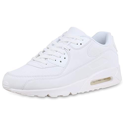 SCARPE VITA Herren Sportschuhe Laufschuhe Profilsohle Turnschuhe Fitness Sneaker Modische Freizeit Schuhe Schnürer 169613 White White 45
