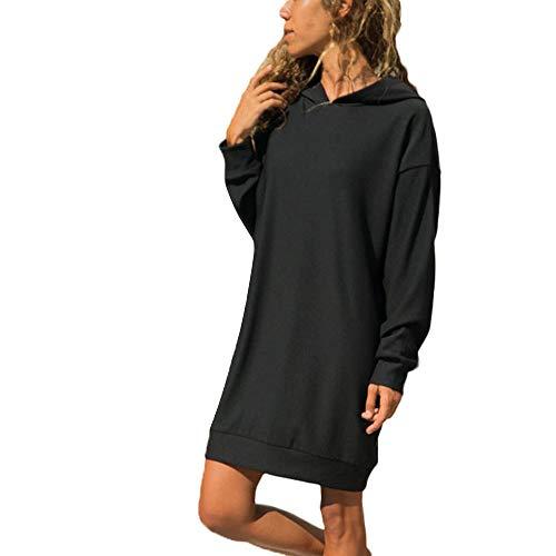 Fghyh Damen Sweatshirt Langarm ShirtFrauen-langärmliges festes beiläufiges mit Kapuze Sweatshirt Pullover-Spitzenbluse(M, Schwarz) -