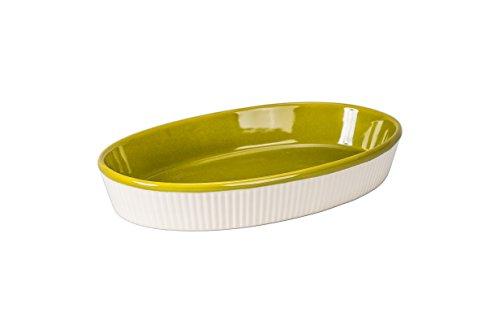 BIA Cordon Bleu Quatro 1.5-Quart Porcelain Oval Baker Dish, Sand/Olive Green Green Pie Dish