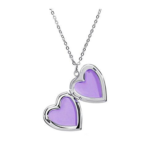 Beydodo Bilder Medaillon zum öffnen mit Kette Lila Herz Damen Herren Halskette mit Anhänger Silber (Diamanten öffnen Herz-halskette Mit Sie)