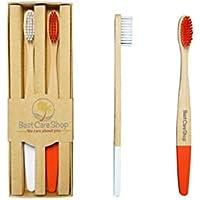 BestCare Shop Brosse à dents en bambou–Naturel–Vegan–Lot de 2–x 30–Rouge/blanc–Convient pour salle de bain ou serviettes–Facile à unterscheiden