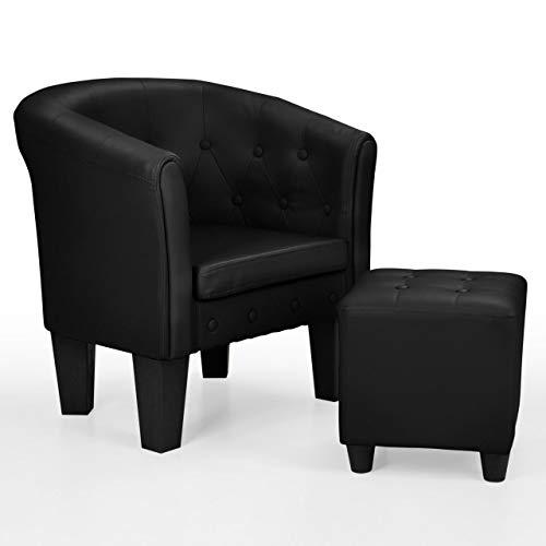 Homelux Chesterfield Sessel und Sitzhocker, aus Kunstleder und Holz, mit Rautenmuster, Farbwahl, Lounge Sessel, Clubsessel, Armsessel, Cocktailsessel, Wohnzimmer Möbel, Design-Polstermöbel, SCHWARZ