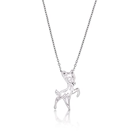 Disney Couture Collier faon Bambi plaqué or blanc