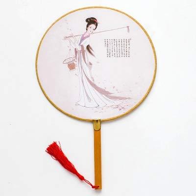 Dynastie Kostüm Tang - QIFUDEVS-HANDLE FAN Home Runder Handfächer mit Bambusseidengriff im Stil der chinesischen Tang-Dynastie (Color : D)