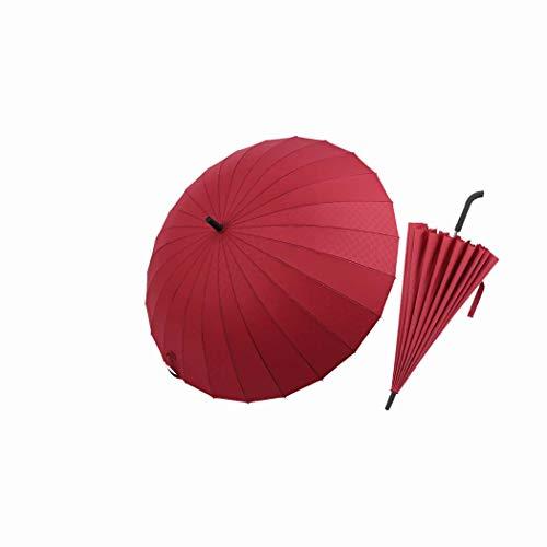 MISS&YG Winddichter Regenschirm 54 Zoll automatische Öffnung 2 Personen Anzug Herren-und Damenklassiker mit leichtem, wasserdichtem, langlebigen 24 Reiseleiter Unisex 120cm,red