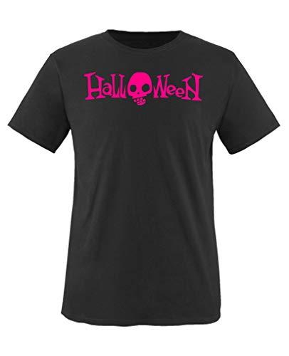 Comedy Shirts - Halloween Schriftzug Schaedel - Mädchen T-Shirt - Schwarz/Pink Gr. 152-164