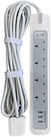 Rafeed Electric 3250W, 5M Power Extension Socket, 3 USB ports, 13A, White/Grey RF-30010