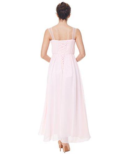 ZAFUL Damen Elegant Abendkleid Brautkleid Ärmellos Lange Partykeider Schultergurt Kleid Rosa